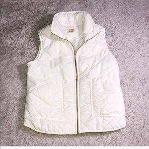 Peach Love California Quilted Puffer White Vest
